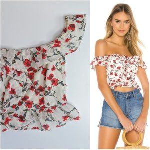 Tularosa NWT Lily top red Dolly floral cropped 356